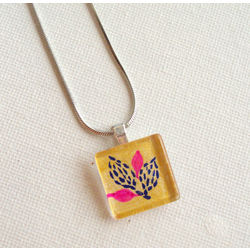 ART PENDANT - PINK AND GOLD by THE NEWLIFE SHOP