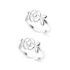 Twin Flower Silver Toe Ring-TR219