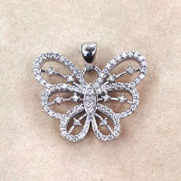 Zircon Studded Butterfly Pendant-PD042
