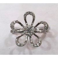 Beautiful Flower Zircon Silver Ring-FRL013, 14