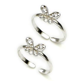 Pretty White Zircon Butter-Fly Toe Rings-TR154