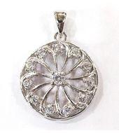 Elegant White Zircon Silver Pendant-PD015