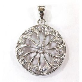 White Stone Studded Round Pendant-PD015