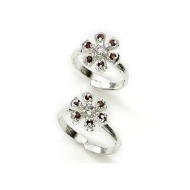 Appealing Zircon Studded Silver Toe Ring-TR259