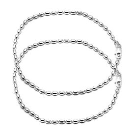 Glitter Pearl Silver Anklets-ANK004