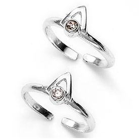 Pink Sone Silver Toe Ring-TR135