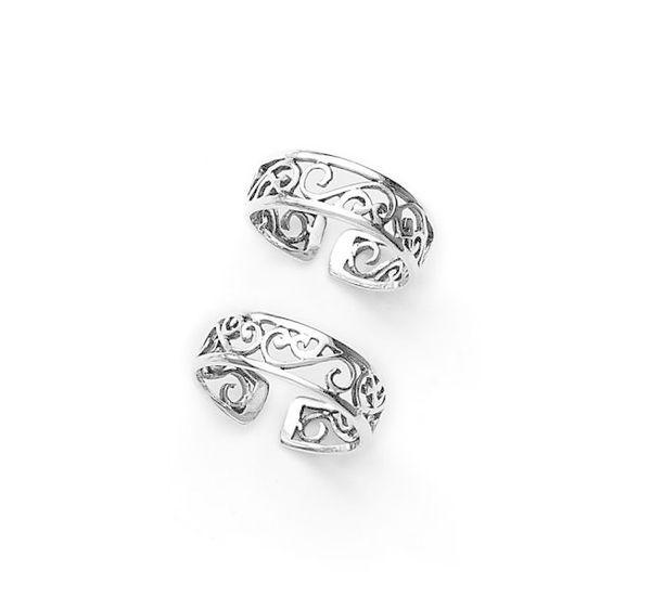 Graceful Cut Work Silver Toe Ring-TR278