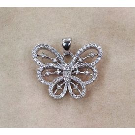 Alluring Zircon Studded Butterfly Pendant-PD042
