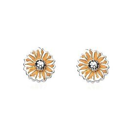 Charming Flower Shape Enamel Silver Tops-ER031