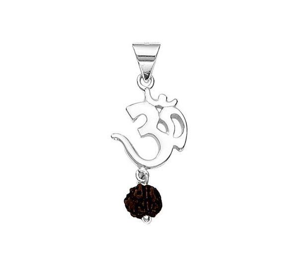 Divine om rudraksh silver pendant silver pendants online divine om rudraksh silver pendant pd030 mozeypictures Images