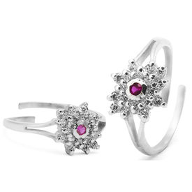 Appealing Zircon Studded Silver Toe Ring-TOER012