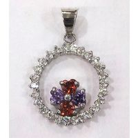 Glorious Stone Studded Round Shape Pendant-PD011