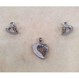 Stunning Heart & Zircon Silver Pendant Set-PDS014