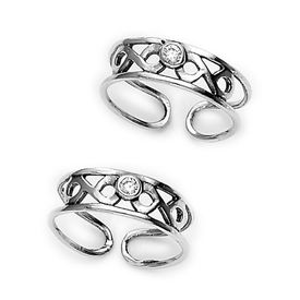 Classy White Stone Silver Toe Ring-TR151