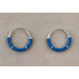 Multi Color Enamel Hoops Silver Earrings-ER037, light blue