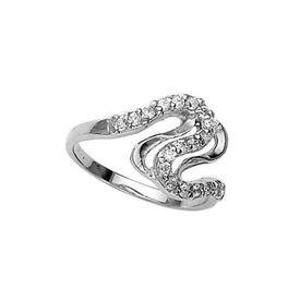 Elegant White CZ Silver Finger Ring-FRL035
