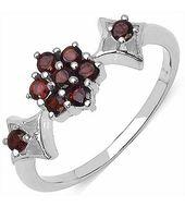 Genuine Garnet 9 Stone Silver Ring-FRL010