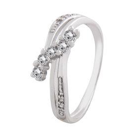 Shiny White CZ Silver Finger Ring-FRL011