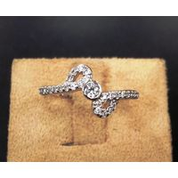 Comely American Diamond Studded Silver Ring-FRL029