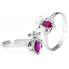 Magnificient Pink Stone Studded Toe Ring-TR289