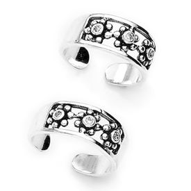 Ravishing Zircon Studded Silver Toe Ring-TR229