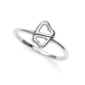 Double Hearts Silver Finger Ring-FRL045