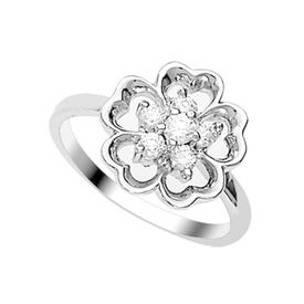 Lovely CZ Silver Finger Ring-FRL046