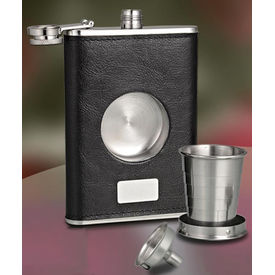 Leather Finish Stainless Steel Hip Flask with hidden shot glass and funnel