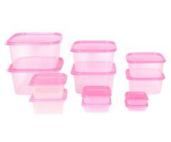 Gluman 12 Pcs Set of Plastic Kitchen Storage Container Box - Splash Pink C7