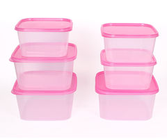 Gluman 6 Pcs Set of Plastic Kitchen Storage Container Box - Sigma Pink C4
