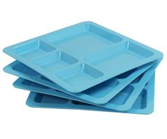 Gluman Dinner Partition Plate Square Serving Set - Set of 4 (Blue)
