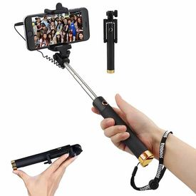 Selfie Stick Extendable Handheld Wired Monopod Selfie Stick with 3.5mm Aux Cable Control for iPhone Android Smartphones (Gold)
