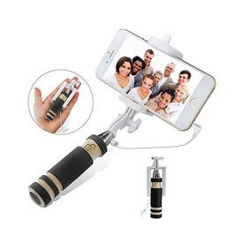 Wired Monopod Extendable Handheld Foldable Mini Selfie Stick For iPhone SmartPhones