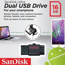 Sandisks Dual 2in1 Ultra 16GB OTG Pen Drive On-the-GO USB 2.0 and Micro USB