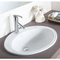 Hindware L500mm X W630mm Rhapsody Counter Top Self Rimming Wash Basin# 10045, pastel  off white