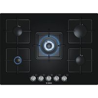Bosch 70 cm Black Hard Glass Gas Built-In Hob with Integrated Controls# PPQ716B1TI