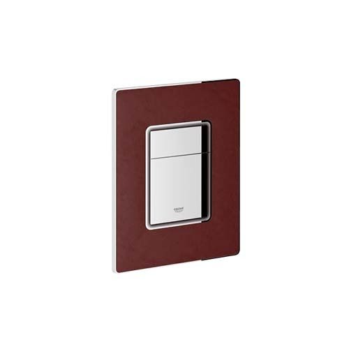 Grohe 156mm X 197mm Skate Cosmopolitan Leather Wall Plate for Dual Flush Tanin Red Quilted Leather# 38913XMO