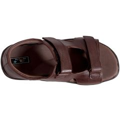 Health Plus Diabetic footwear - Men - Leather Sandals with Reverse Staps, 8, black