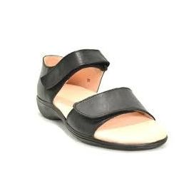 HealthPlus - 100% Leather Women s Diabetic Sandals, 9, black
