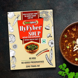 NutraSphere Instant Manchow Soup for Diabetes & Heartcare (High Fiber, Sugar Free) - 200g, 10 Sachets