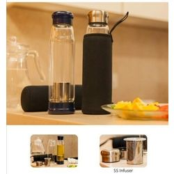 Fuzo Glass Infuser Water Bottle with Stainless Steel Infuser