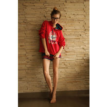 C34- Nerdy Cat Hoodie with Shorts, s,  red