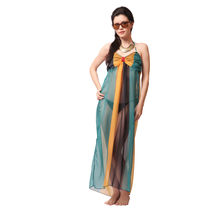 S6- Chiffon Tie-up Beach Dress, m,  teal