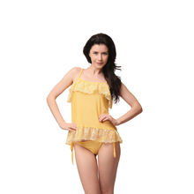 L21- Yellow Sheer Lacy Camisole With Panties, m,  lemon