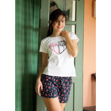 C88- T-shirt with owl print Shorts, m,  blue