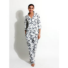 C173- Floral Print Night Suit, s,  white