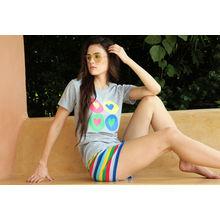 S30- 4 Hearts T-shirt & Striped Shorts, m,  multi