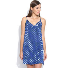 L18- Blue Polka Satin Nightie With Back Scoop, s,  blue
