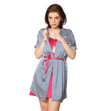 L67- Satin Slip with Stripe Overcoat & Belt, m,  blue