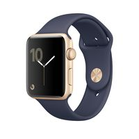 Apple Watch 38mm Gold Aluminum Case with Midnight Blue Sport Band